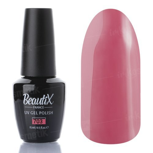 Beautix, Гель-лак №703 (15 мл.)Beautix<br>Гель-лак, розовый, глянцевый, плотный<br>