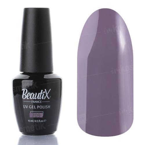 Beautix, Гель-лак №709 (15 мл.)Beautix<br>Гель-лак, серо-лиловый, глянцевый, плотный<br>