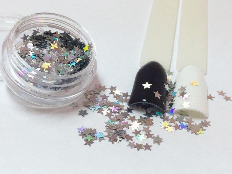 NelTes, Звездочки - серебряный голографикКамифубуки для дизайна ногтей<br>Звездочки для дизайна ногтей<br>