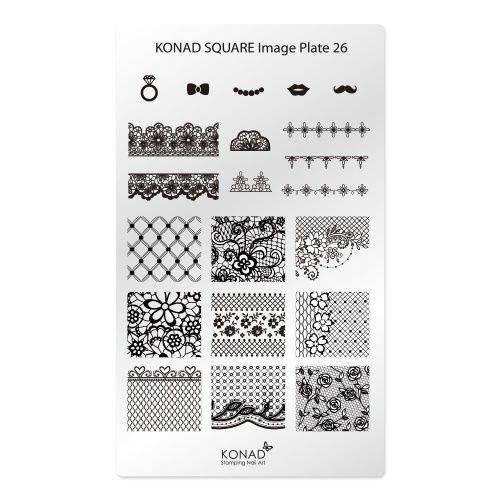 Konad, диск для стемпинга Square Image Plate 26Диски для стемпинга Konad<br>В пластине для стемпинга представлены 21 изображение на тему Винтаж.<br>