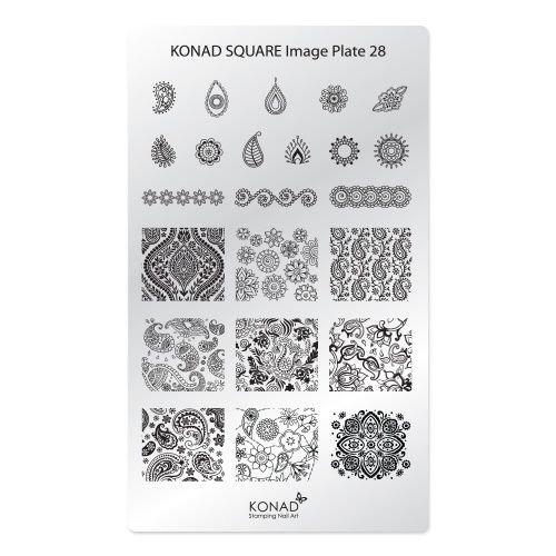 Konad, диск для стемпинга Square Image Plate 28Диски для стемпинга Konad<br>В пластине для стемпинга представлены 23 изображения на тему Турецких огурцов.<br>