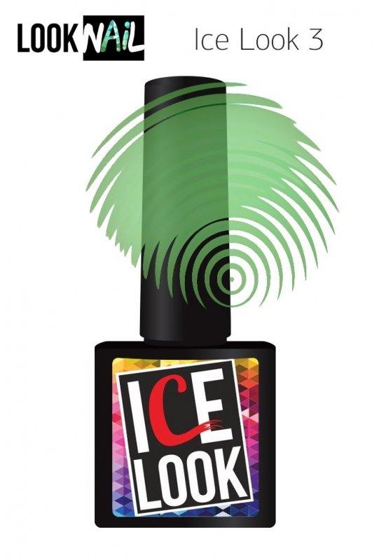 Look Nail, Ice Look - Гель-лак витражный №03 (10 ml.)Look Nail<br>Гель-лак витражный, зеленый подтон, прозрачный<br>