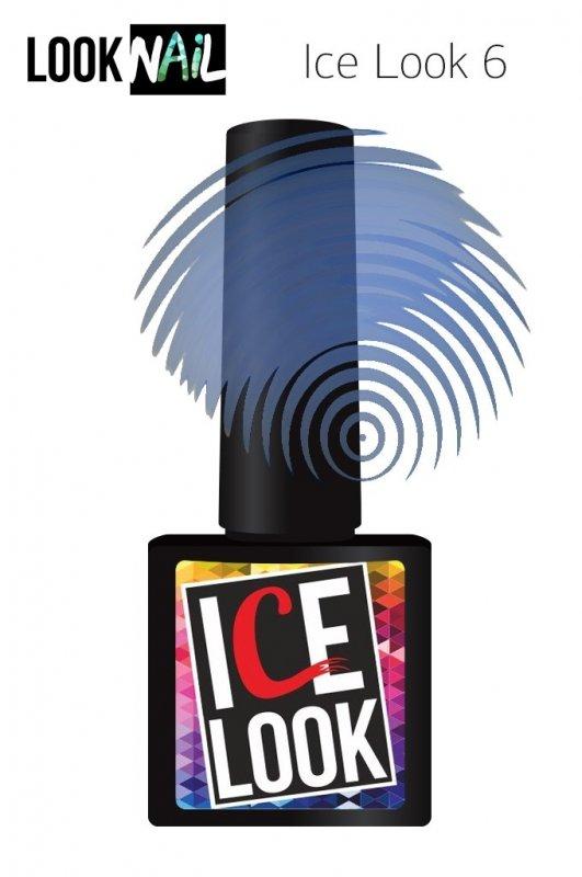 Look Nail, Ice Look - Гель-лак витражный №06 (10 ml.)Look Nail<br>Гель-лак витражный, синий подтон, прозрачный<br>