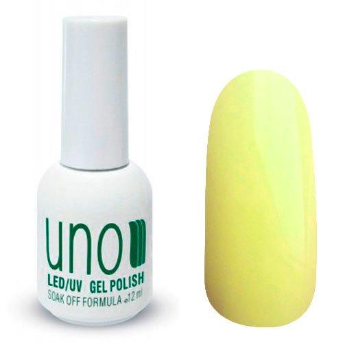 Uno, Гель-лак Lemon - Лимон №003 (12 мл.)Uno <br>Гель лак, спокойного желтого цвета, без блесток и перламутра, глянцевый,плотный.<br>