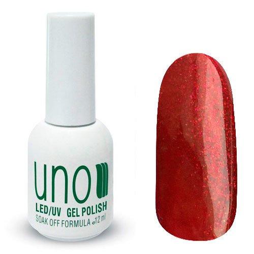 Uno, Гель-лак Fiery Dust - Огненная пыль №031 (12 мл.)Uno <br>Гель лак, ярко-красный витражный, с золотистыми микроблестками,полупрозрачный.<br>