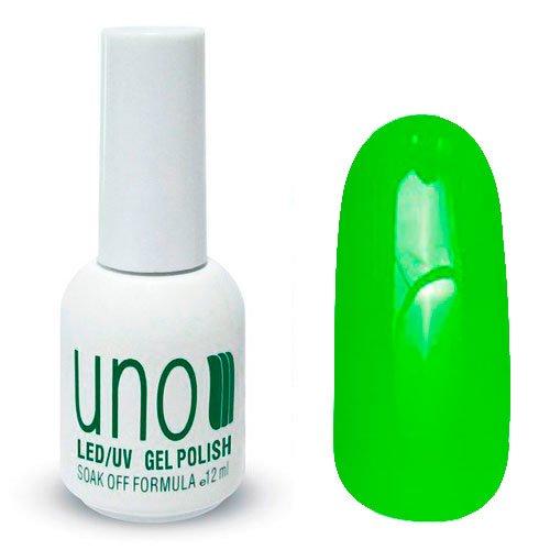 Uno, Гель-лак Green Neon - Зеленый неоновый №054 (12 мл.)Uno <br>Гель лак, кислотный ярко-зеленый,без мерцания и перламутра,плотный.<br>