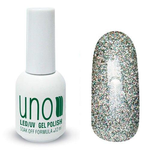 Uno, Гель-лак Silver Dust - Серебряная пыль №109 (12 мл.)Uno <br>Гель лак, светло-серый, с большим количеством голографических микрочастиц,плотный.<br>