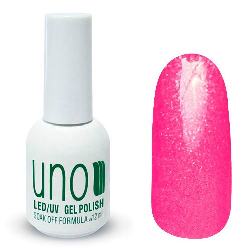 Uno, Гель-лак Barby - Барби №264 (12 мл.)Uno <br>Гель лак, ярко-розового цвета, с мерцающими блестками,плотный.<br>