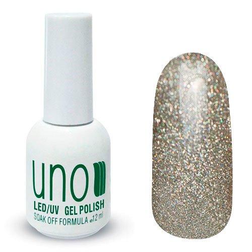 Uno, Гель-лак Holographic Silver - Голографик серебро №315 (12 мл.)Uno <br>Гель лак, полупрозрачный, смерцающими золотыми и серебряными блестками.<br>