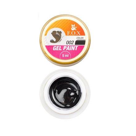 F.O.X, Гель-краска с липким слоем - Черная №002 (5 ml.)Гель краски F.O.X<br>Гель-краска с липким слоем. Используется для дизайна ногтей.<br>
