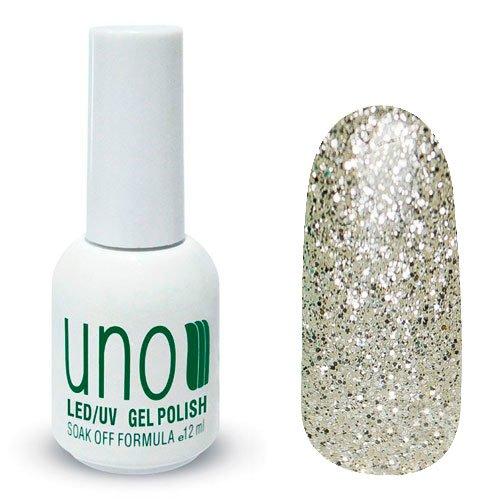 Uno, Гель-лак Diamond Shine - Алмазное сияние №340 (12 мл.)Uno <br>Гель лак, полупрозрачный, с серебряными блестками.<br>