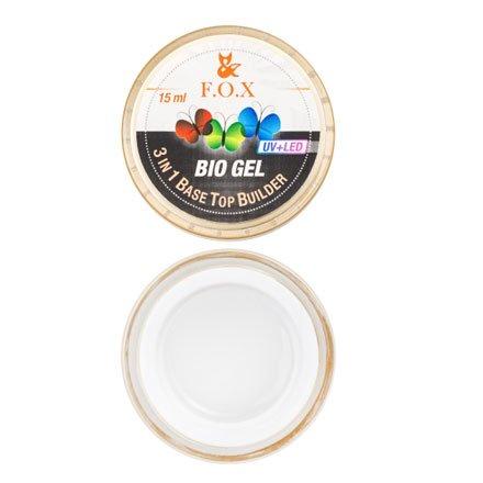 F.O.X, Прозрачный био-гель - 3 в 1 Bio Gel (3 in 1 Base-Top-Builder, 15 ml.)Гели F.O.X<br>Средней степени вязкости, самовыравнивающийся гель.<br>
