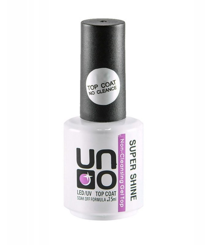 Uno, Верхнее покрытие для гель-лака - Super Shine (15 мл.)Uno <br>Верхнее покрытие для гель-лака без липкого слоя<br>