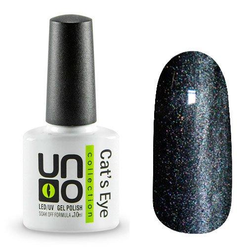 Uno, Гель-лак Cats eye - №02 (10мл.)Uno <br>Гель-лак темно-серого серебристого цвета с эффектом Кошачий глаз. Перламутровый, с микроблестками, плотный.<br>