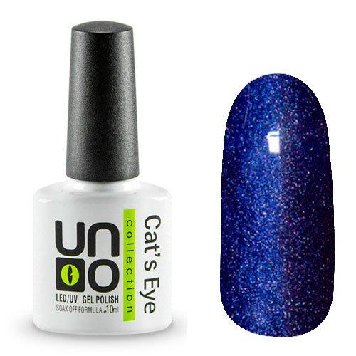 Uno, Гель-лак Cats eye - №09 (10мл.)Uno <br>Гель-лакнасыщенного сине-фиолетового цвета с эффектом Кошачий глаз. Перламутровый, с микроблестками, плотный.<br>