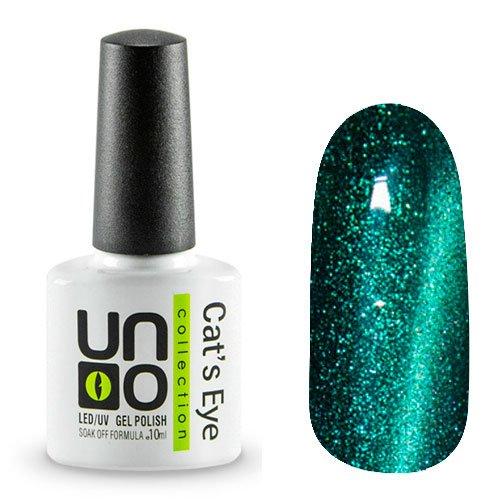 Uno, Гель-лак Cats eye - №17 (10мл.)Uno <br>Гель-лак насыщенного зеленого цвета с эффектом Кошачий глаз. Перламутровый, с зелеными мерцающими частицами,плотный.<br>