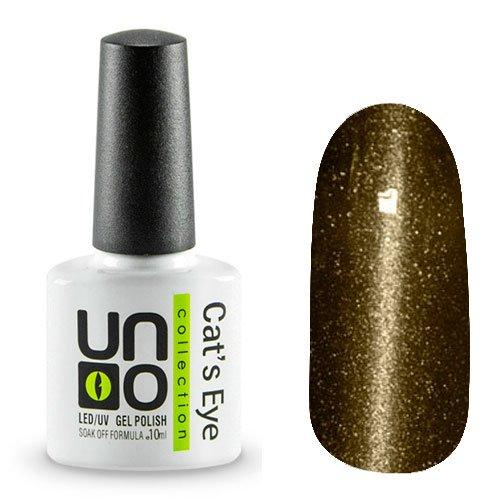 Uno, Гель-лак Cats eye - №31 (10мл.)Uno <br>Гель-лак темного золотисто-оливкового цвета. Перламутровый, с микроблестками,плотный.<br>