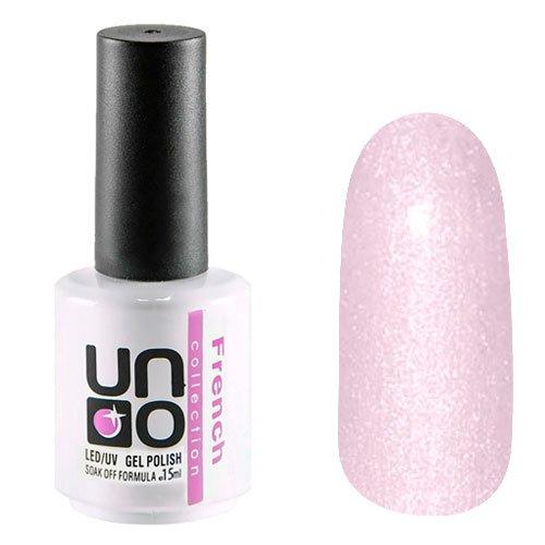 Uno, Гель-лак - French Collection F03 (15мл.)Uno <br>Плотный гель-лак светло-розового цвета с мерцающими частицами. Для французского маникюра.<br>