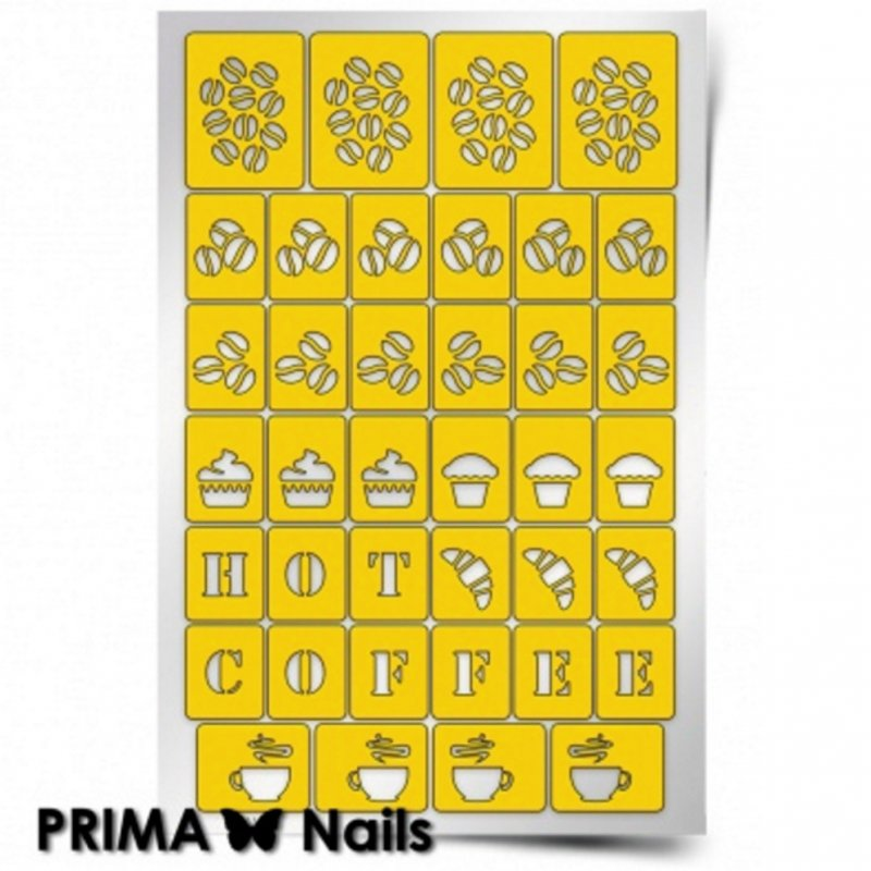 PrimaNails, Трафарет для дизайна ногтей - КофейняPrimaNails<br>Самоклеющиеся трафареты<br>