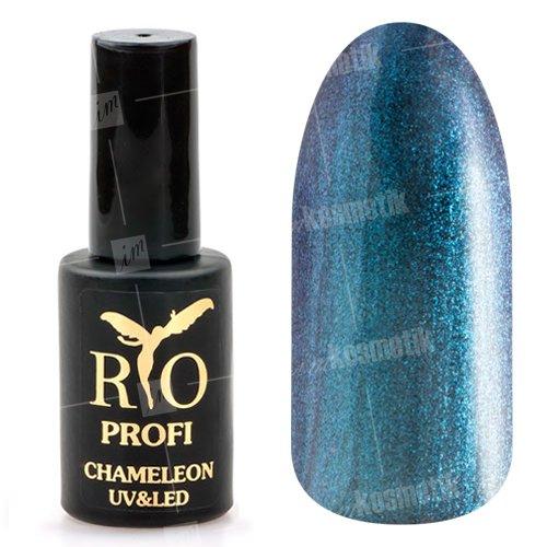 Rio Profi, Гель-лак Хамелеон №2 (7 мл.)Rio Profi<br>Гель-лак хамелеон, прозрачный с синими микроблестками, глянцевый<br>