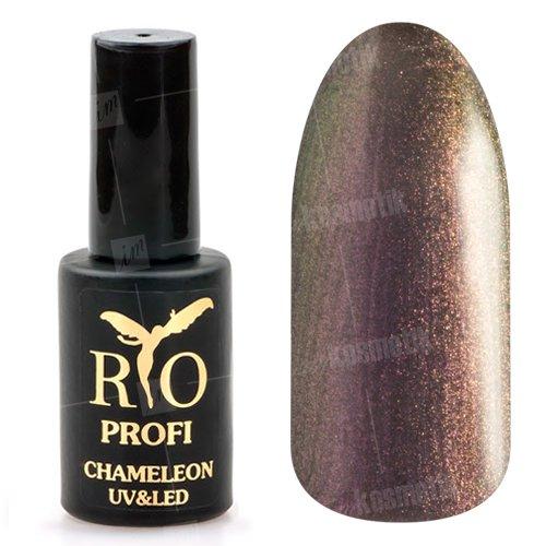 Rio Profi, Гель-лак Хамелеон №6 (7 мл.)Rio Profi<br>Гель-лак хамелеон, графиовый с сиреневыми микроблестками, глянцевый<br>