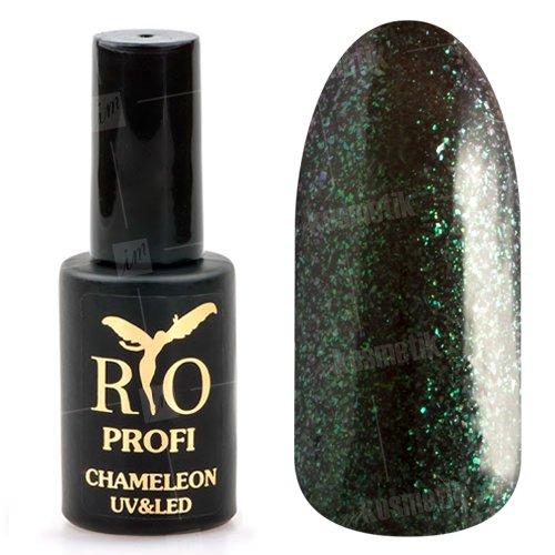 Rio Profi, Гель-лак Хамелеон №12 (7 мл.)Rio Profi<br>Гель-лак хамелеон, болотный с зелеными, розовыми микроблестками, глянцевый<br>