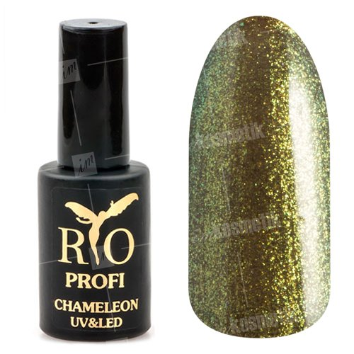Rio Profi, Гель-лак Хамелеон №18 (7 мл.)Rio Profi<br>Гель-лак хамелеон, зеленый с желтыми микроблестками, глянцевый<br>
