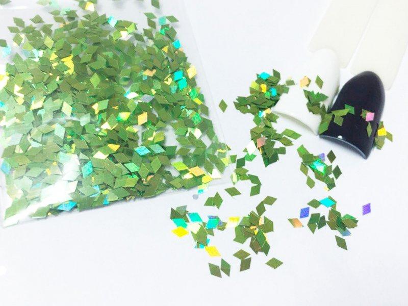 NelTes, Ромбики (салатовый, 2х3 мм.)Камифубуки для дизайна ногтей<br>Ромбикидля дизайна ногтей<br>