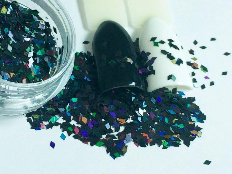 NelTes, Ромбики (черный, 2х3 мм.)Камифубуки для дизайна ногтей<br>Ромбикидля дизайна ногтей<br>