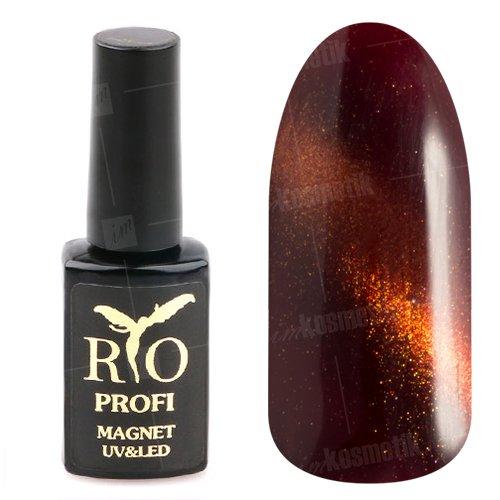 Rio Profi, Гель-лак - Магнитный Кошачий глаз №16 (7 мл.)Rio Profi<br>Гель-лак Кошачий глаз, оранжево-красный с золотым шиммером, плотный<br>