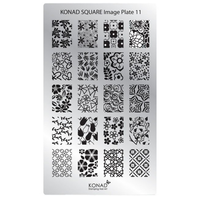 Konad, диск для стемпинга Square Image Plate 11Диски для стемпинга Konad<br>20 видов изображений, с помощью которых вы сможете создать великолепные рисунки на ногтях, которые очень сложно создать вручную.<br>