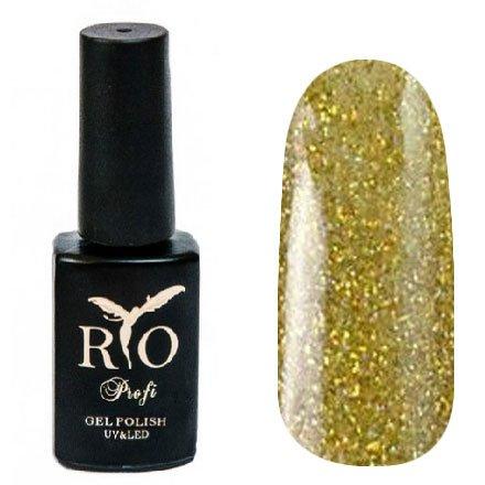 Rio Profi, Гель-лак каучуковый - Золотой с микроблестками №59 (7 мл.)Rio Profi<br>Гель-лак каучуковый, золотоой с микроблестками, глянцевый<br>