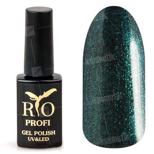 Rio Profi, Гель-лак каучуковый - Темно-зеленый с блестками №73 (7 мл.)Rio Profi<br>Гель-лак каучуковый, темно-зеленый с блестками, плотный, глянцевый<br>