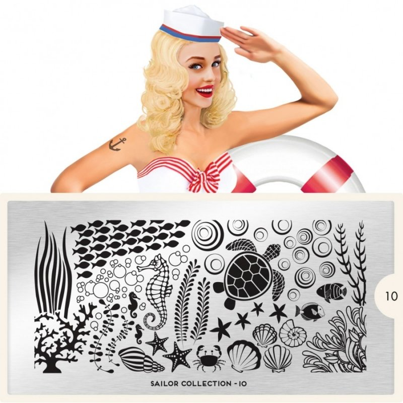 Пластина MoYou London Sailor 10Пластины для стемпинга MoYou London<br>Коллекция Sailor<br>
