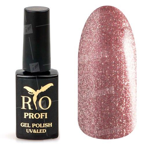 Rio Profi, Гель-лак каучуковый - Гранатовый с блестками №86 (7 мл.)Rio Profi<br>Гель-лак каучуковый, гранатовый с блестками, плотный, глянцевый<br>