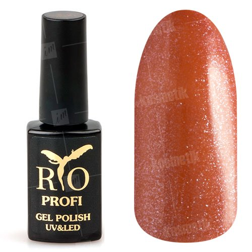 Rio Profi, Гель-лак каучуковый - Огненный с блестками №87 (7 мл.)Rio Profi<br>Гель-лак каучуковый, огненный с блестками, плотный, глянцевый<br>