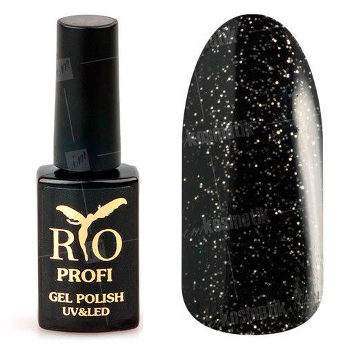 Rio Profi, Гель-лак каучуковый - Черный с блестками №93 (7 мл.)Rio Profi<br>Гель-лак каучуковый, черный с блестками, плотный, глянцевый<br>