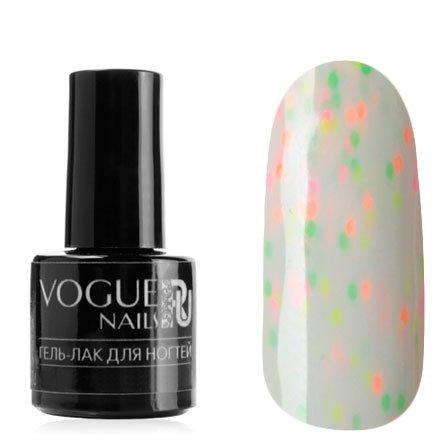 Vogue Nails, Гель-лак - Воздушная зефирка №724 (6 мл.)Vogue Nails<br>Гель-лак,белый, с розовыми, оранжевыми, желтыми и зелеными конфетти, плотный<br>