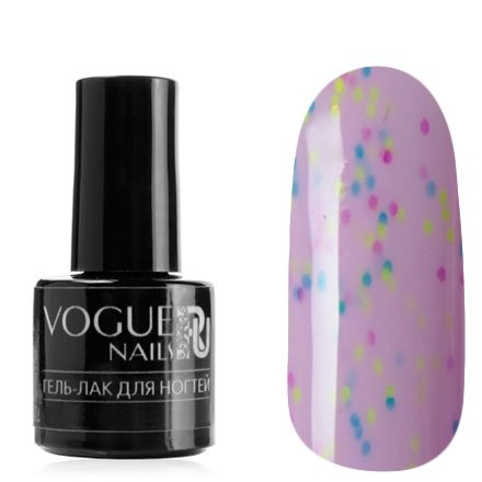 Vogue Nails, Гель-лак - Мармеладные дольки №727 (6 мл.)Vogue Nails<br>Гель-лак,пастельно-сиреневый, с фиолетовыми, голубыми и лимоннымиконфетти, плотный<br>