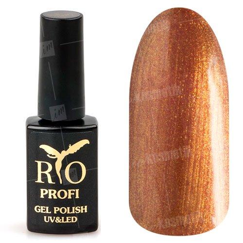 Rio Profi, Гель-лак каучуковый - Огненный с глиттером №139 (7 мл.)Rio Profi<br>Гель-лак каучуковый, огненный с глиттером, плотный, глянцевый<br>