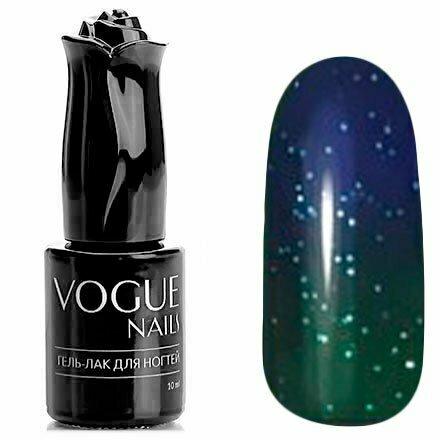 Vogue Nails, Гель-лак термо - Карты таро №744 (10 мл.)Vogue Nails<br>Термо гель-лак,изумрудный/зеленый, с блестками, плотный<br>