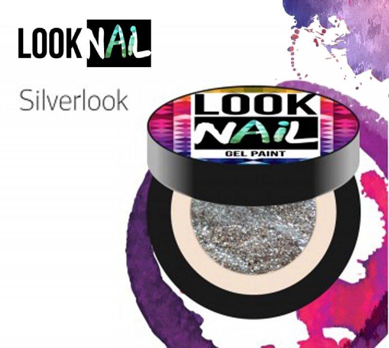 Look Nail, Гель-краска - Silverlook (серебро, 5 ml.)Гель краски Look Nail<br>Гель-краска, серебристого цвета с остаточной липкостью.<br>