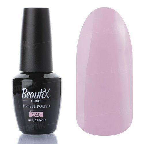 Beautix, Гель-лак №240 (15 мл.)Beautix<br>Гель-лак, розово-фиолетовый, глянцевый, без блесток и перламутра, плотный<br>