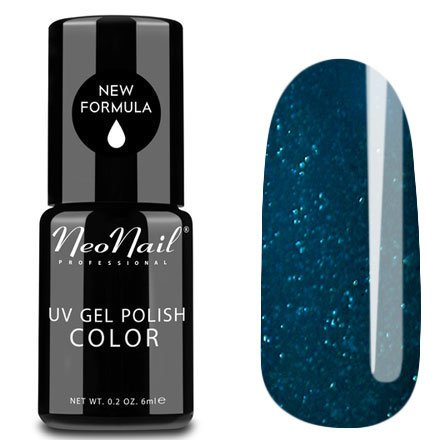 NeoNail, Гель-лак - №450 (6 мл.)NeoNail<br>Гель-лак, сине-зеленый, глянцевый, с блестками, плотный<br>