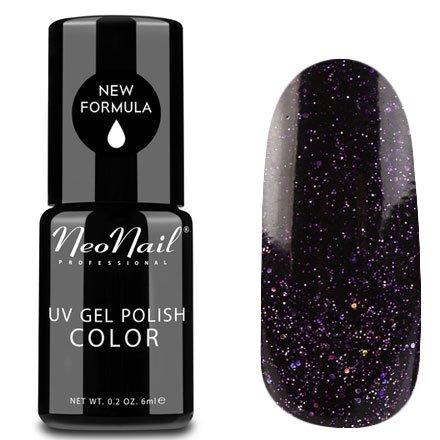 NeoNail, Гель-лак - Pegasus №5008 (6 мл.)NeoNail<br>Гель-лак, черный с фиолетовым подтоном, глянцевый, с блестками, плотный<br>