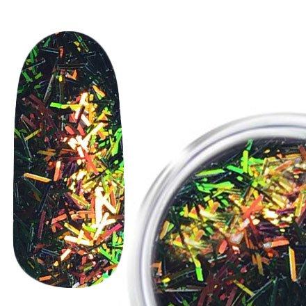 RainBird Nail, Стружка для дизайна - Зелено-оранжевыйСтружка<br>Мелкая блестящая стружка для дизайна<br>