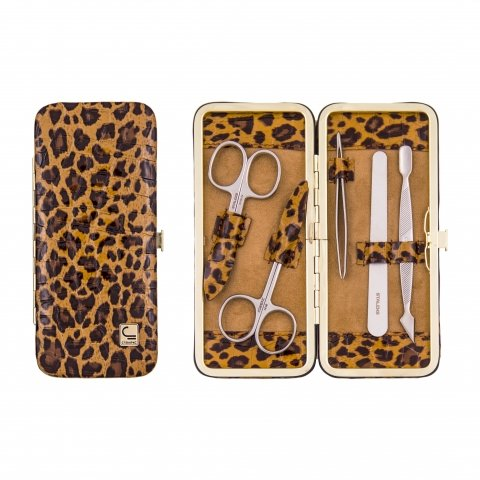 Staleks, Маникюрный набор - Рамка узкая НМ-04-2Р (Леопард коричневый)Маникюрные наборы<br>Маникюрный набор «Рамка узкая» НМ-04/2Р(5 предметов)<br>