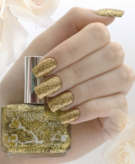El Corazon Confetti, № 521bЛаки El Corazon<br>Лак золотой с блестками, плотный. Объем 16 ml.<br>