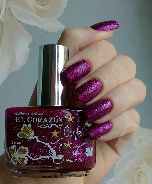 El Corazon Confetti, № 505АЛаки El Corazon<br>Лак темная фуксия с розовыми блестками, плотный. Объем 16 ml.<br>