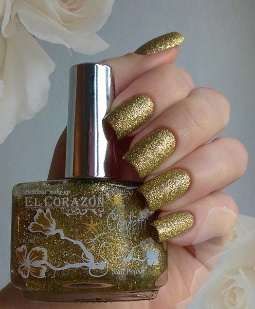 El Corazon Confetti, № 506АЛаки El Corazon<br>Лак лимонно-золотой с блестками, плотный. Объем 16 ml.<br>